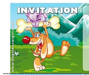 Carte invitation anniversaire chien avec son os