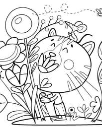 Chat et Fleur
