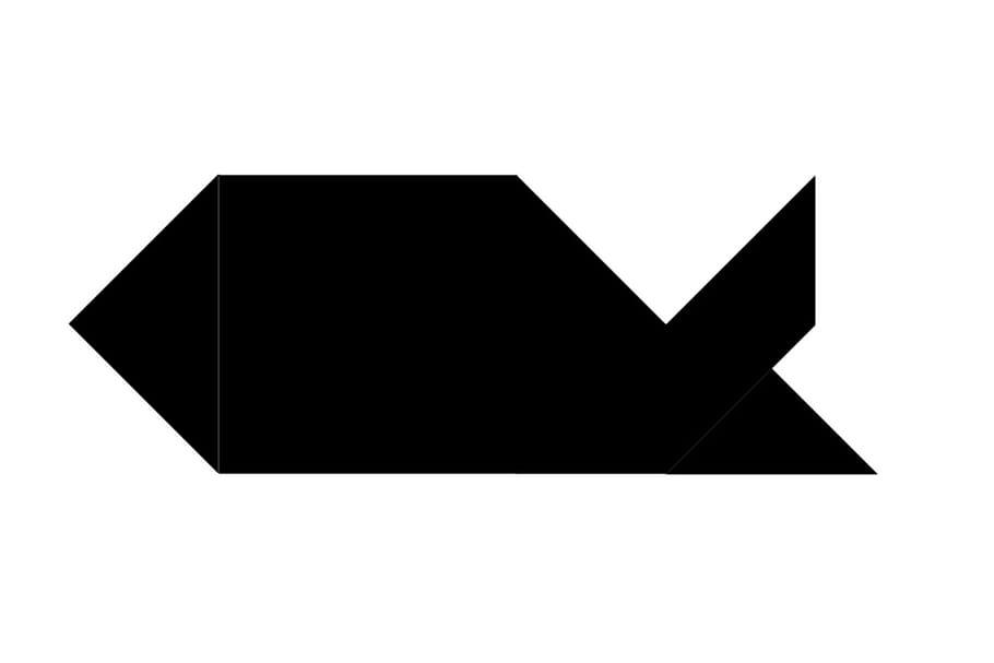 Le tangram niveau difficile, un poisson