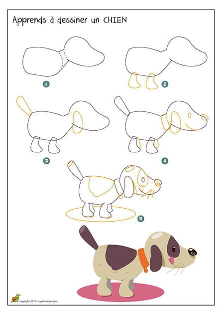 Dessiner un chien - Dessin chien facile ...