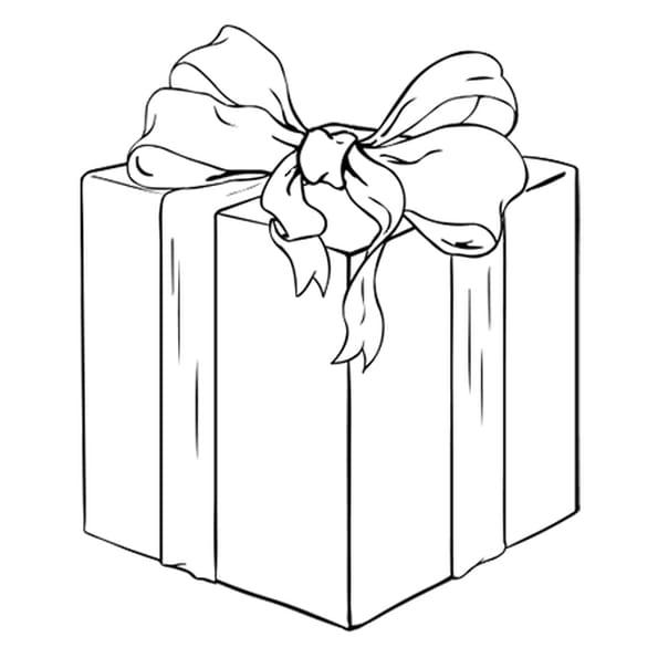 Coloriage Cadeau jaune et rouge en Ligne Gratuit à imprimer