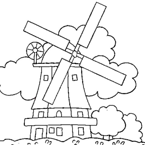 Coloriage Moulin en Ligne Gratuit à imprimer