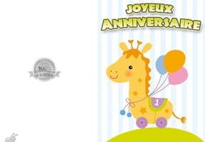 Carte joyeux anniversaire girafe