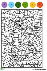 Coloriage Magique CM1, l'oiseau à l'écharpe verte