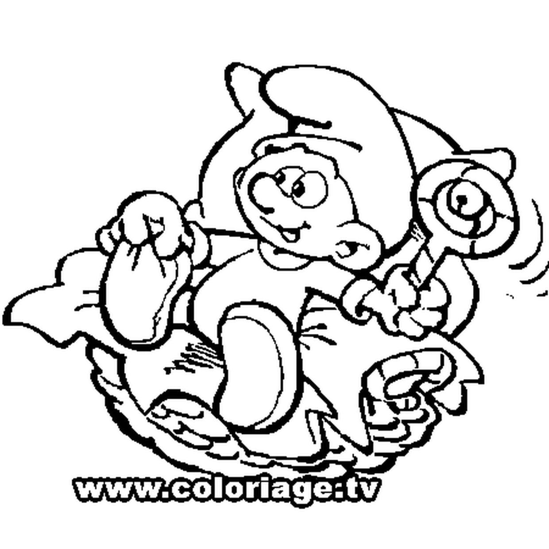 Coloriage Bebe Schtroumpf En Ligne Gratuit A Imprimer