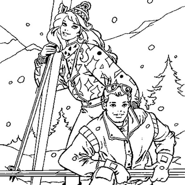 Dessin De Ski a colorier