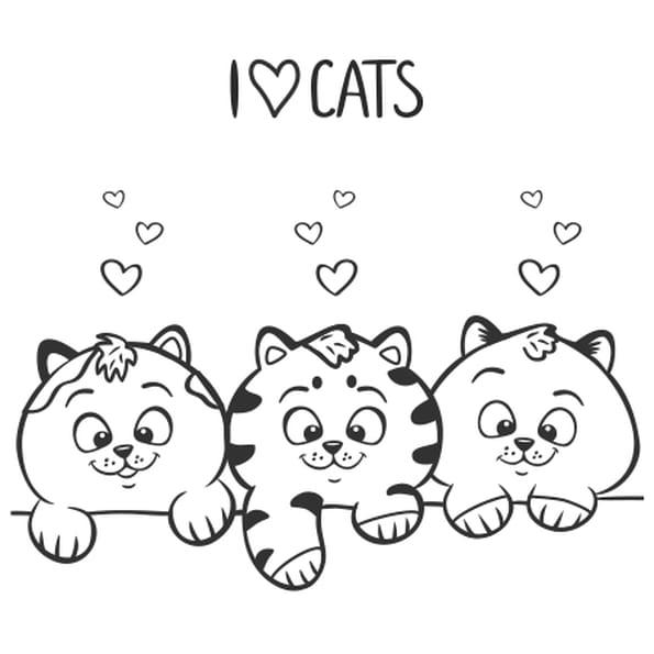 Coloriage J'aime les chats en Ligne Gratuit à imprimer