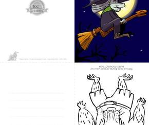 Carte joyeux Halloween sorcière