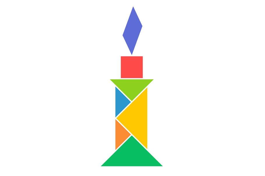 Le tangram niveau facile, une bougie