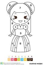 Coloriage magique CP: une belle princesse