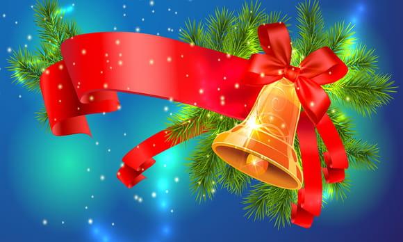 Coloriage Neige et Cloches de Noël