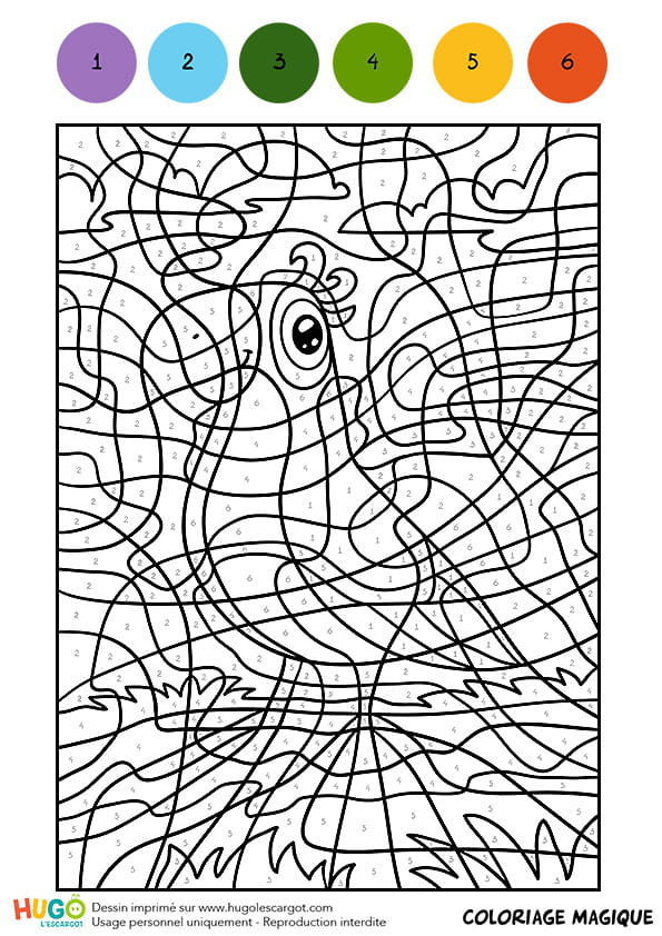Coloriage Magique Oiseau.Coloriage Magique Cm1 L Oiseau A L Echarpe Verte