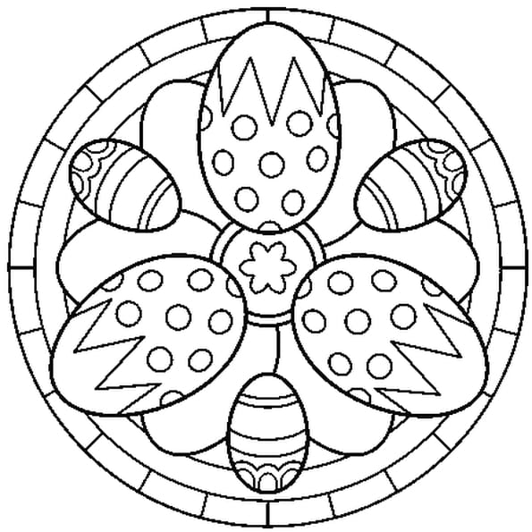 dessin mandala de pques a colorier