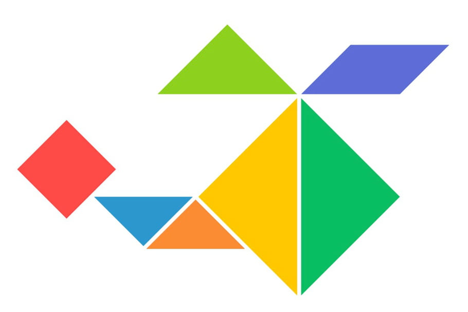 Le tangram niveau facile, un hélicoptère