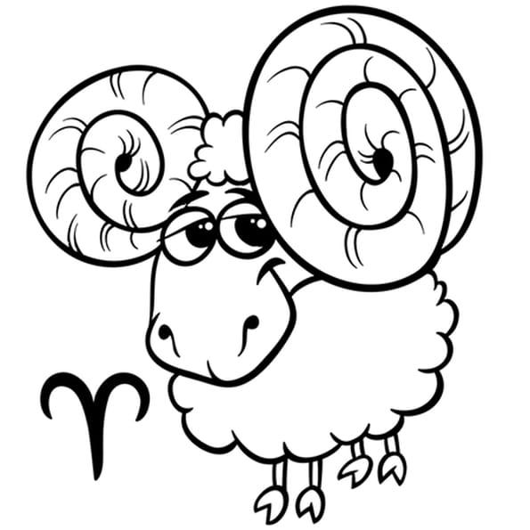 Coloriage Signe du Zodiaque le Bélier en Ligne Gratuit à imprimer