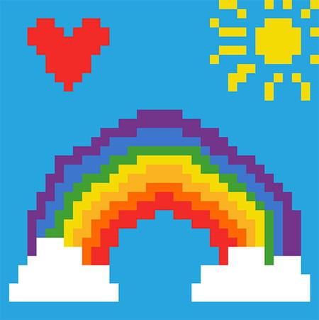 Arc En Ciel En Pixel Art