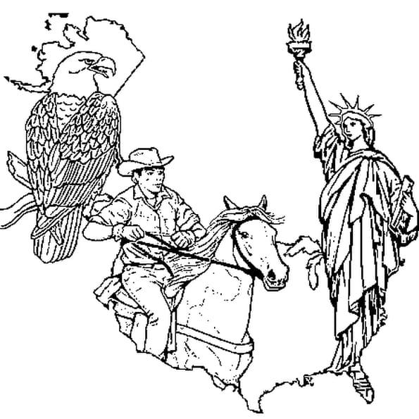 Dessin Etats Unis a colorier