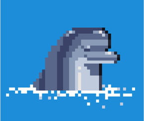 Dauphin en pixel art