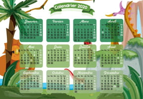 Les dinosaures : calendrier 2020
