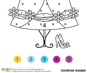 Coloriage magique CP: la robe de Cendrillon