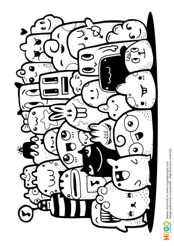 Coloriage Petits Monstres Et Animaux Kawaii En Ligne Gratuit A