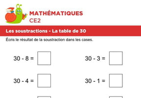 Les soustractions, la table de 30
