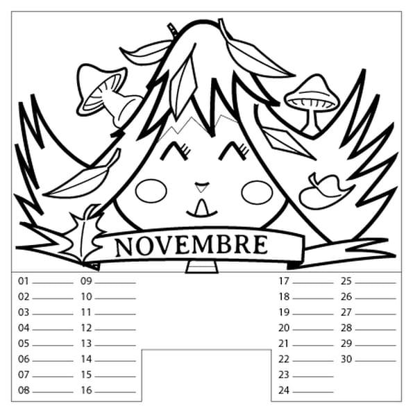 Coloriage Calendrier Novembre en Ligne Gratuit à imprimer
