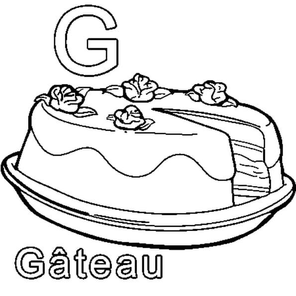Dessin G comme Gâteau a colorier