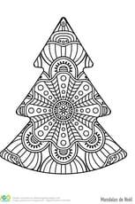 Mandala facile d'un sapin de Noël