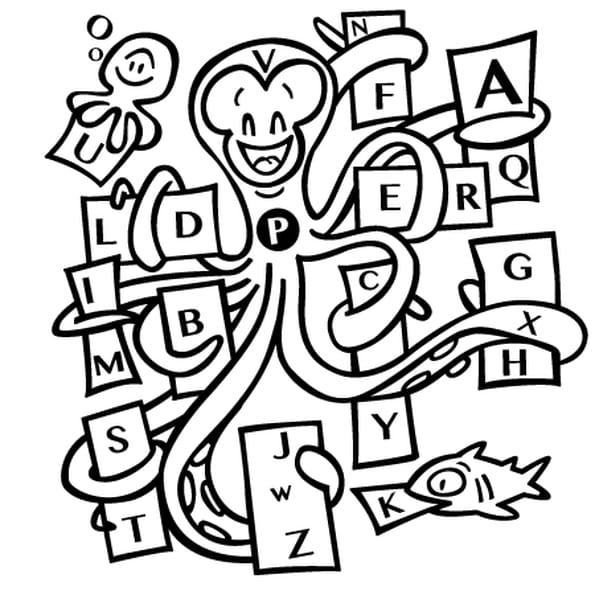 Dessin La pieuvre et l'alphabet a colorier