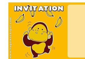 Carte invitation anniversaire gorille avec bananes