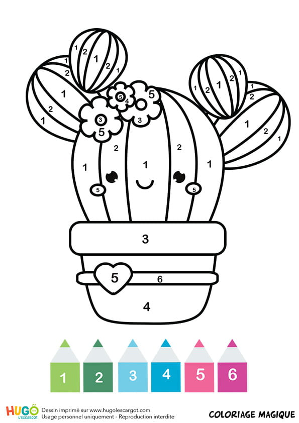 Coloriage magique CP: un cactus kawaii