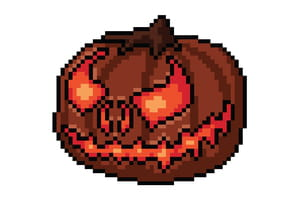 Pixel art citrouille d'Halloween