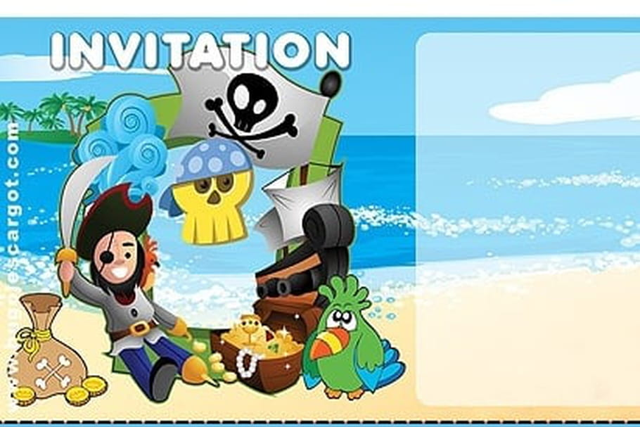 carte invitation anniversaire pirate sur une plage. Black Bedroom Furniture Sets. Home Design Ideas