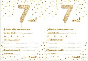 Carte d'invitation d'anniversaire 7ans