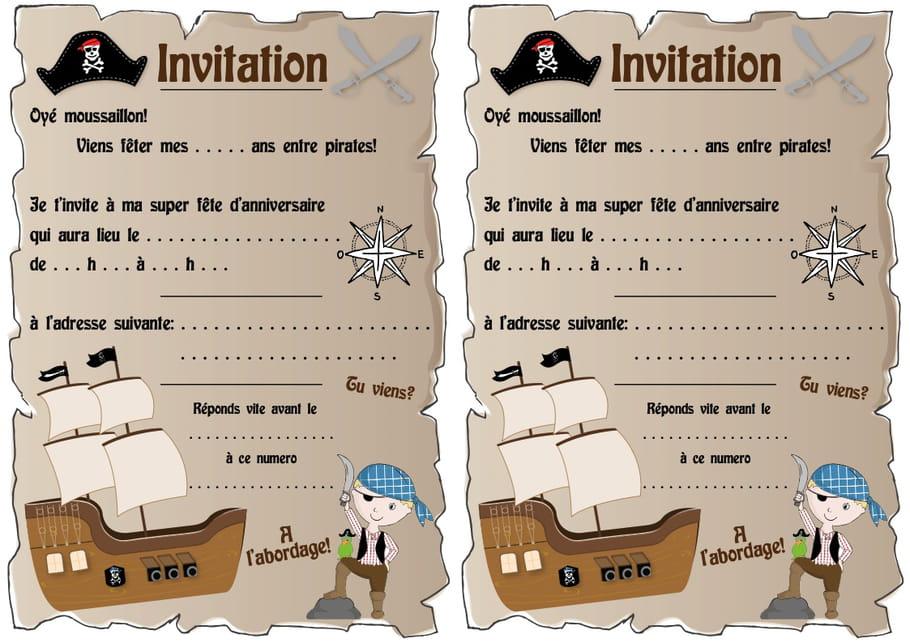 Carte d'invitation d'anniversaire thème pirates