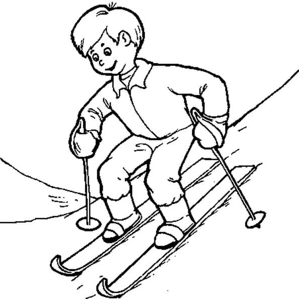 Dessin Le ski a colorier