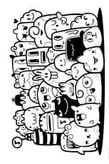 Coloriage Petits monstres et animaux kawaii