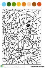 Coloriage Magique CM1, un petit chien assis