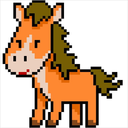 Petit Poney Marron En Pixel Art
