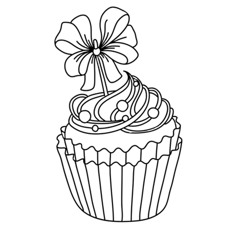 Coloriage Cupcake Festif En Ligne Gratuit à Imprimer