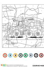 Coloriage magique CE1: un véhicule de chantier