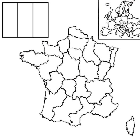 Dessin carte France a colorier