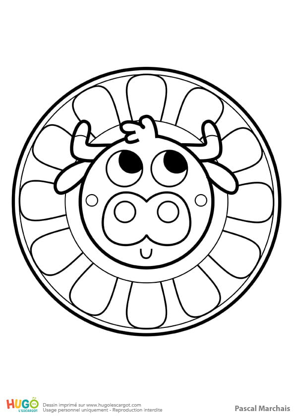 Coloriage De Mandala De Vache.Mandala Vache Pour Les Petits
