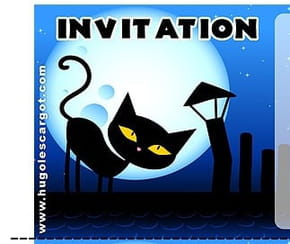 Carte invitation anniversaire chat noir