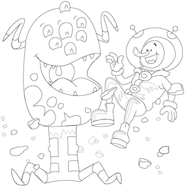 Dessin extraterrestre et astronaute a colorier