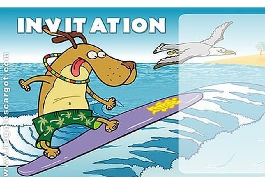 Carte invitation anniversaire chien surfeur