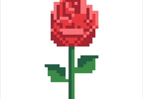 Rose rouge en pixel art