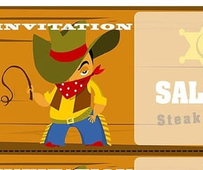 Carte invitation anniversaire cow-boy