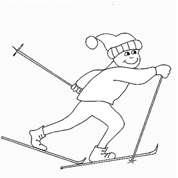 Dessin ski de fond a colorier